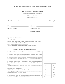 Be sure that this examination has 11 pages including this... The University of British Columbia Sessional Examinations - April 2010