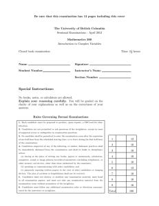 Be sure that this examination has 12 pages including this... The University of British Columbia Sessional Examinations - April 2012
