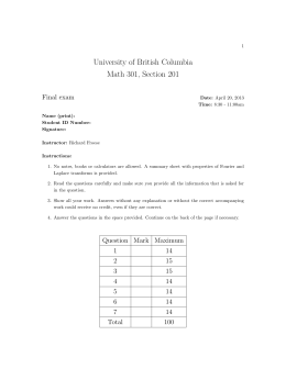 University of British Columbia Math 301, Section 201 Final exam