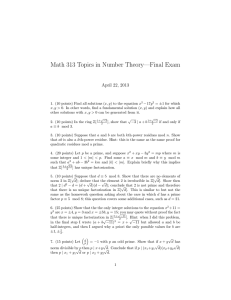 Math 313 Topics in Number Theory—Final Exam April 22, 2013