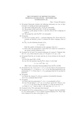 THE UNIVERSITY OF BRITISH COLUMBIA SESSIONAL EXAMINATIONS – DECEMBER 2009 MATHEMATICS 322