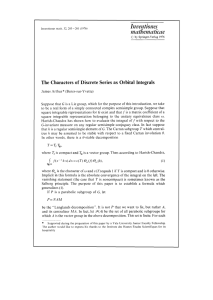 Inventiones mathematicue of Discrete Series as Orbital Integrals The Characters