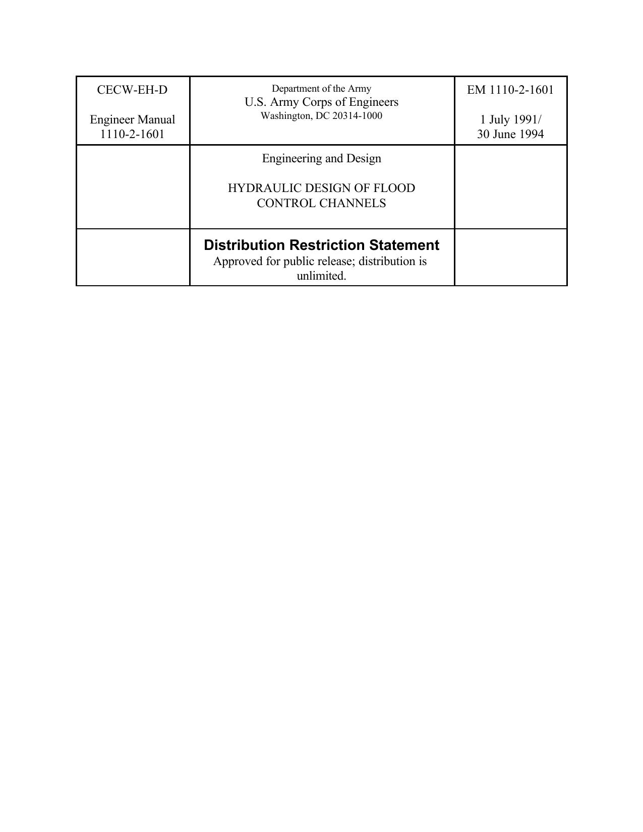 Cecw Eh D Em 1110 2 1601 U S Army Corps Of Engineers Engineer Manual