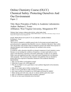 Online Chemistry Course (OLCC)  Chemical Safety: Protecting Ourselves And  Our Environment