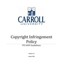 Copyright Infringement Policy ITS AUP Guidelines