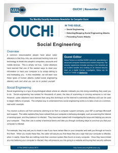 Social Engineering Guest Editor Overview OUCH! | November 2014