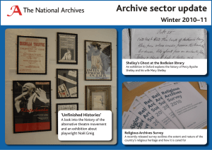Archive sector update Winter 2010–11 'Unfinished Histories'