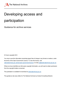 Developing access and participation  Guidance for archive services