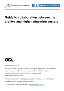 Guide to collaboration between the archive and higher education sectors