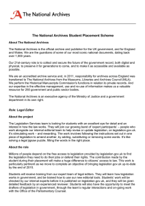 The National Archives Student Placement Scheme
