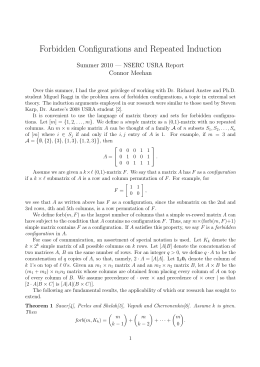 Forbidden Configurations and Repeated Induction Summer 2010 — NSERC USRA Report