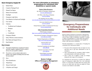 For more information on emergency Basic Emergency Supply Kit