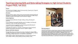 Teaching Listening Skills and Note-taking Strategies to High School Students