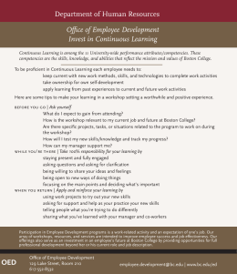Department of Human Resources Office of Employee Development Invest in Continuous Learning
