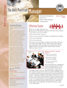 Manager T The Well-Practiced Effective Teams