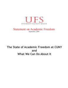ufs Statement on Academic Freedom The State of Academic Freedom at CUNY and