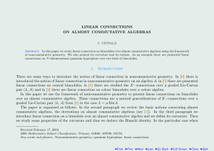 LINEAR CONNECTIONS ON ALMOST COMMUTATIVE ALGEBRAS