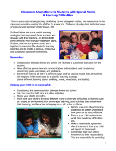 Classroom Adaptations for Students with Special Needs & Learning Difficulties