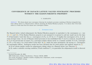 CONVERGENCE OF BANACH LATTICE VALUED STOCHASTIC PROCESSES WITHOUT THE RADON-NIKODYM PROPERTY
