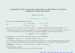 A REMARK ON THE LARGE TIME BEHAVIOR OF SOLUTIONS OF... HAMILTON-JACOBI EQUATIONS Consider the viscous Hamilton-Jacobi equation 1.