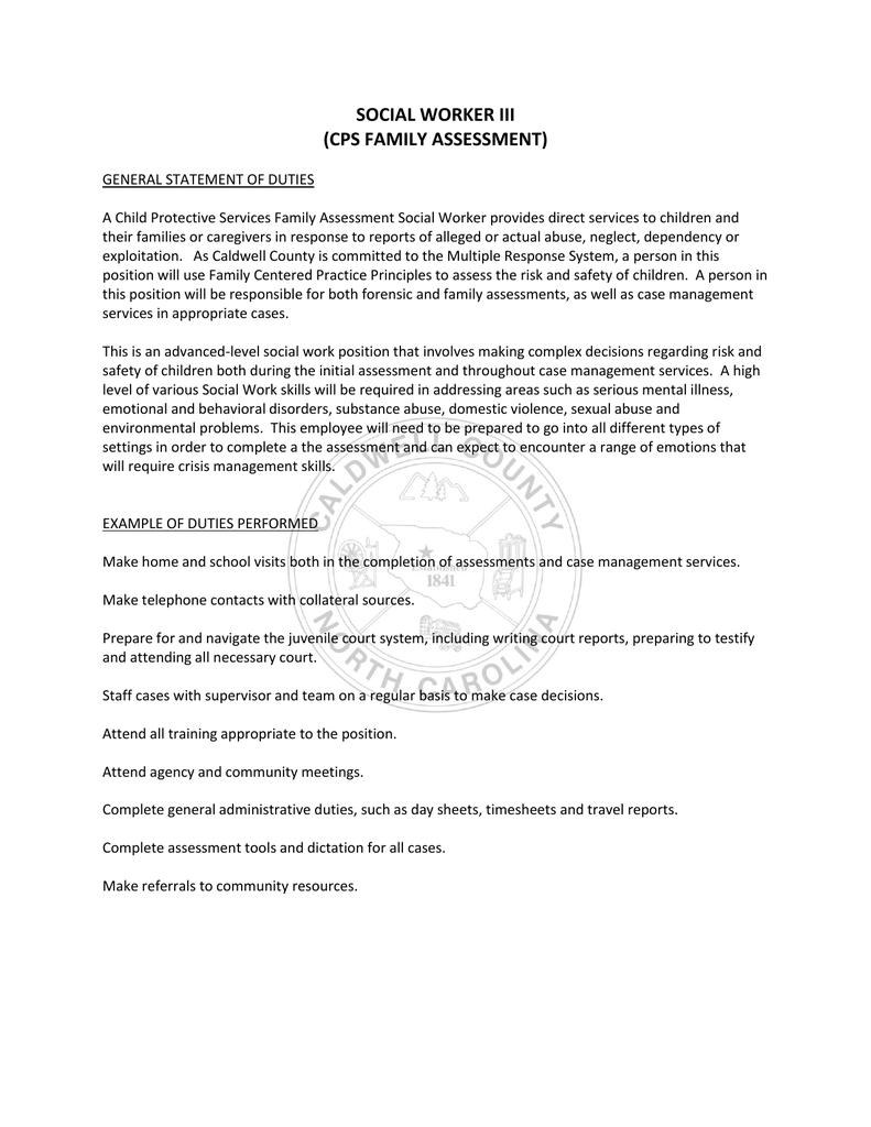 SOCIAL WORKER III (CPS FAMILY ASSESSMENT)