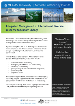 Integrated Management of International Rivers in response to Climate Change  Workshop Venue