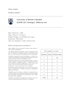Name (print): Student number: University of British Columbia MATH 101 (Vantage): Midterm test