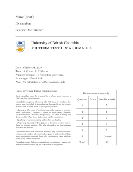Name (print): ID number: Science One number: University of British Columbia
