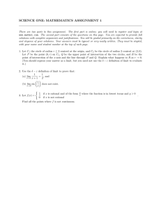 SCIENCE ONE: MATHEMATICS ASSIGNMENT 1