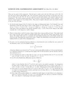 SCIENCE ONE: MATHEMATICS ASSIGNMENT 11 (Due Feb. 10, 2012)