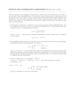 SCIENCE ONE: MATHEMATICS ASSIGNMENT 12 (Due Mar. 9, 2012)