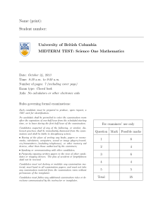 Name (print): Student number: University of British Columbia MIDTERM TEST: Science One Mathematics