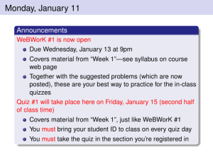 Monday, January 11 Announcements