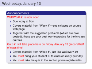Wednesday, January 13 Announcements