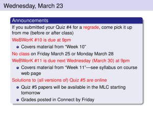 Wednesday, March 23 Announcements