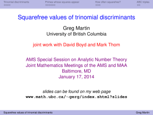 Squarefree values of trinomial discriminants Greg Martin