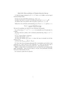 Math 323: Extra problems of Number-theoretic flavour