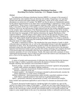 Bidirectional Reflectance Distribution Functions Describing First-Surface Scattering—C.E. Mungan, Summer 1998