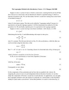 The Lagrangian Method in the Introductory Course—C.E. Mungan, Fall 2008  m U