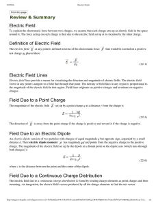 Electric Field Review & Summary