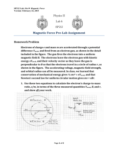 Magnetic	Force	Pre-Lab	Assignment  Physics II Lab 6
