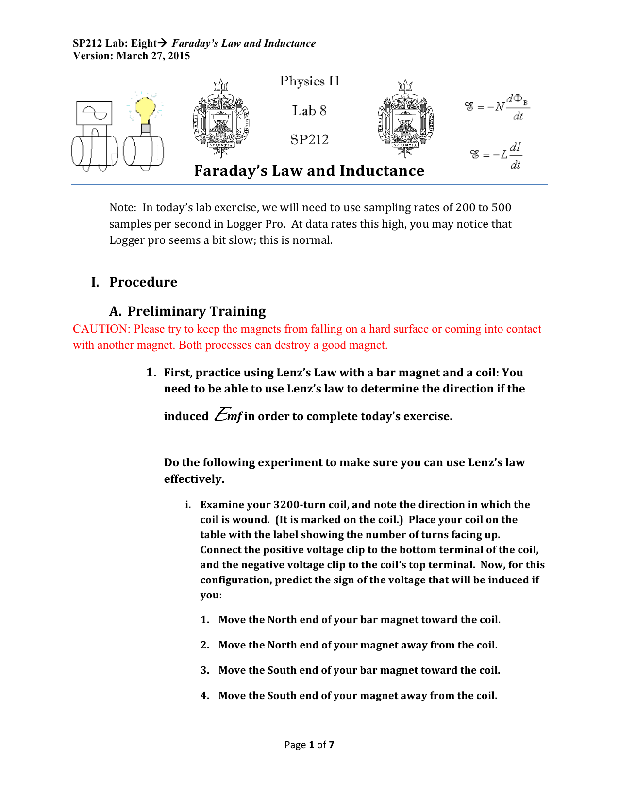 Faraday's Law and Inductance Physics II Lab 8