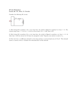 SP 212 Worksheet Lesson 28: Ch. 30.6, RL Circuits