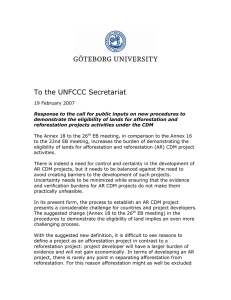 To the UNFCCC Secretariat