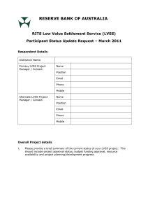 RESERVE BANK OF AUSTRALIA  RITS Low Value Settlement Service (LVSS)