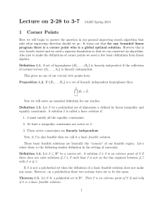 Lecture on 2-28 to 3-7 1 Corner Points