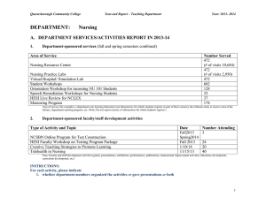 DEPARTMENT: Nursing A.   DEPARTMENT SERVICES/ACTIVITIES REPORT IN 2013-14