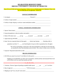 QUARANTINE REQUEST FORM DREXEL UNIVERSITY COLLEGE OF MEDICINE