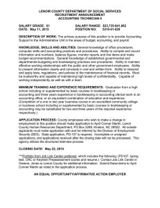 LENOIR COUNTY DEPARTMENT OF SOCIAL SERVICES  RECRUITMENT ANNOUNCEMENT ACCOUNTING TECHNICIAN II