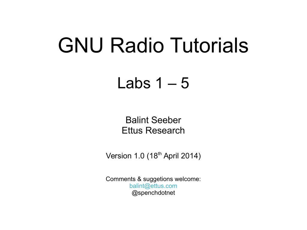 Gnuradio Tutorial